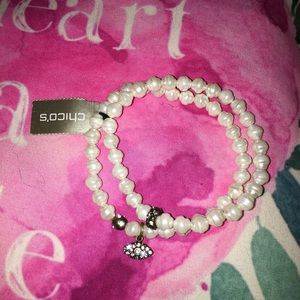 Chico's pearl and crystal eye charm bracelet